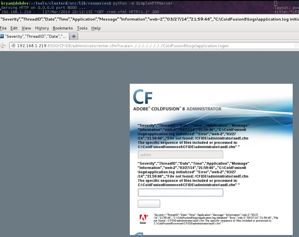 LFI to shell in Coldfusion 6-10 -